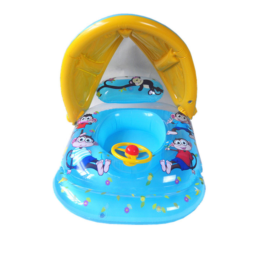 Safe Rubber Ring Soft Inflatable Mother Baby Swim Float Ring Kids Seat Double Person Swimming