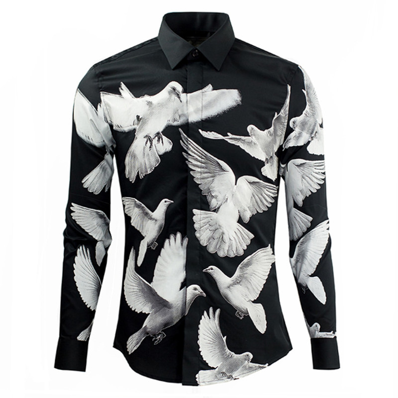 Latest fashion men 39 s long sleeve cotton trend casual shirt for Custom printed dress shirts
