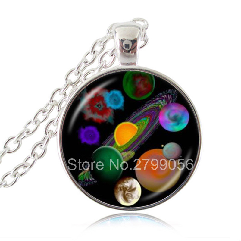 Solar System Planet Photo Necklace Universe Pendant Milky Way Jewelry <font><b>Mysterious</b></font> <font><b>Space</b></font> Galaxy Jewellery Astronomy Glass Choker