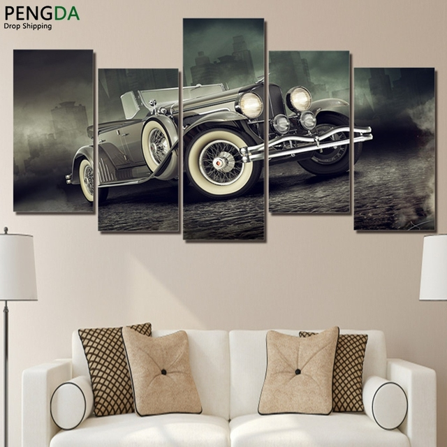 Canvas Wall Art Pictures Home Decor 5 Pieces Luxury Vintage Sports ...