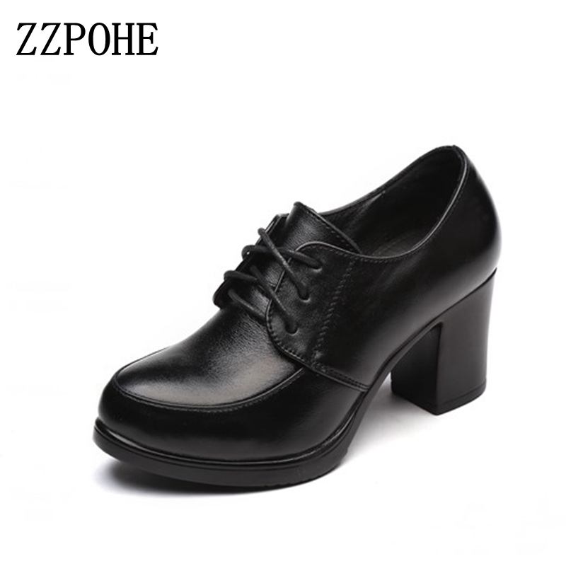 ZZPOHE 2017 Autumn Women Fashion Platform Pumps Shoes Round Toe Lace-Up Med Heels Woman Shoes ladies genuine leather wedge shoes women ankle boots 2016 round toe autumn shoes booties lace up black and white ladies short 2017 flat fashion female new chinese