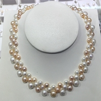 Три нити жемчужное ожерелье и три в одном природных пресноводным жемчугом Колье стелы три цвета размер ручной цветок форма