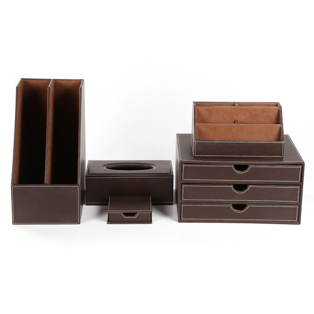 Kingfom 5 Pcs Modern Upscale Leather Office Supplies Sets
