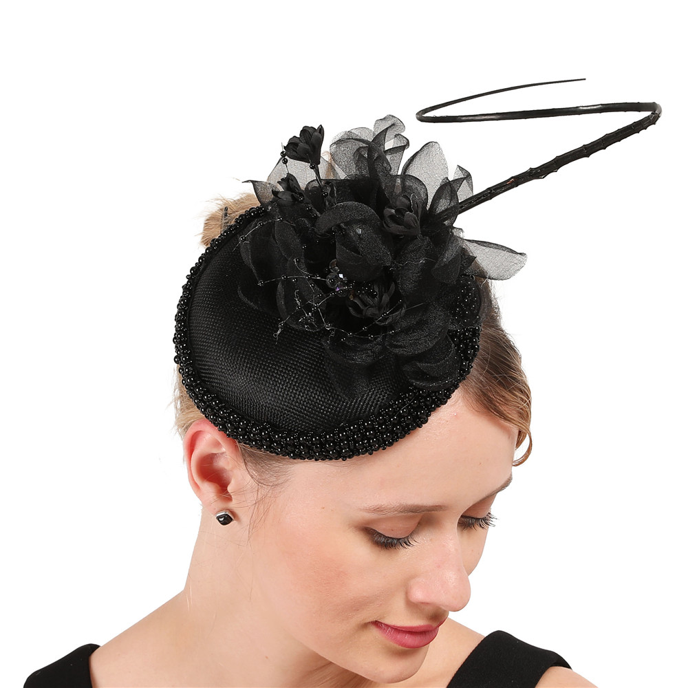 Retro Women Fascinator Hairband Hair Clip Cocktail Tea Hat Wedding Party Decor