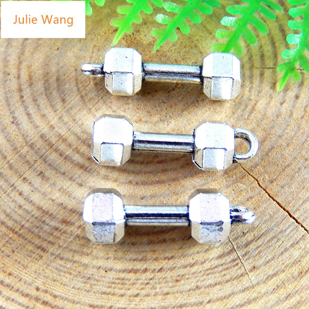 Julie Wang 20PCS Antique Silver Color Dumbbells Fitness Equipment Necklace Earring Bracelet Jewelry For Men And Women Accessor 3