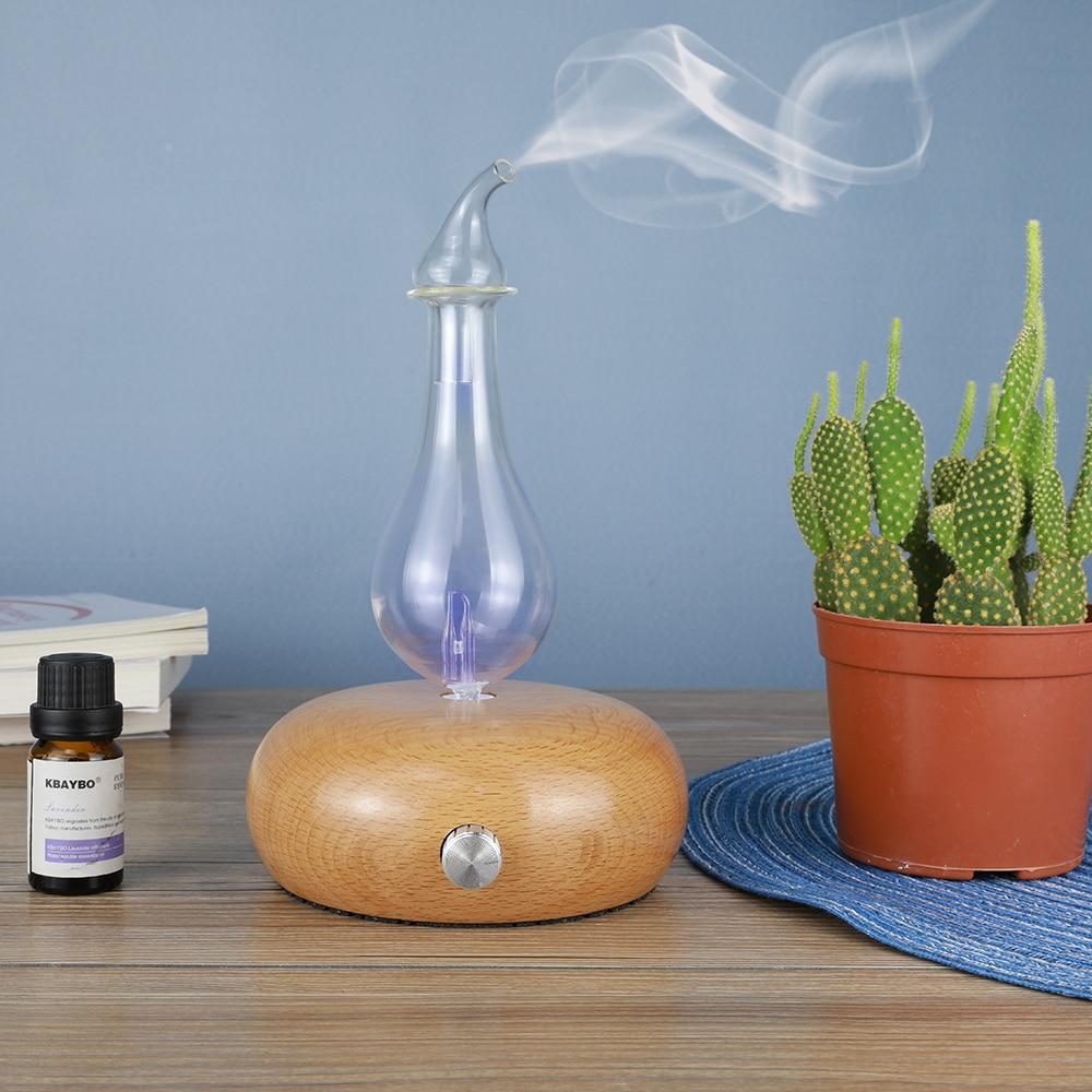 Huile essentielle Diffuseur Aroma Purificateur D'air En Bois et En Verre Aromathérapie Diffuseur Mist Maker Fogger Avec 7 Couleurs LED Lumière