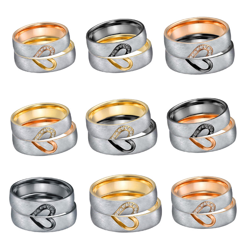 Matching Alliances Heart wedding band ring men black gold silver color anniversary Couple engagment rings for women