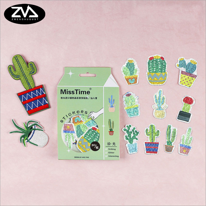 30 pcs/lot Cactus Fashion decorative sticker DIY diary  sealed envelope  Scrapbooking Sticker Stationery kawaii stickers