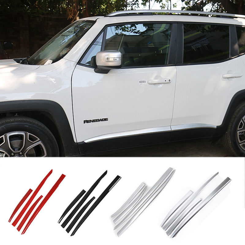 MOPAI ABS Exterior Car Body Door Side Molding Decoration Trim Styling Stickers For Jeep Renegade 2015 Up car styling abs chrome body side moldings side door decoration for hyundai ix35