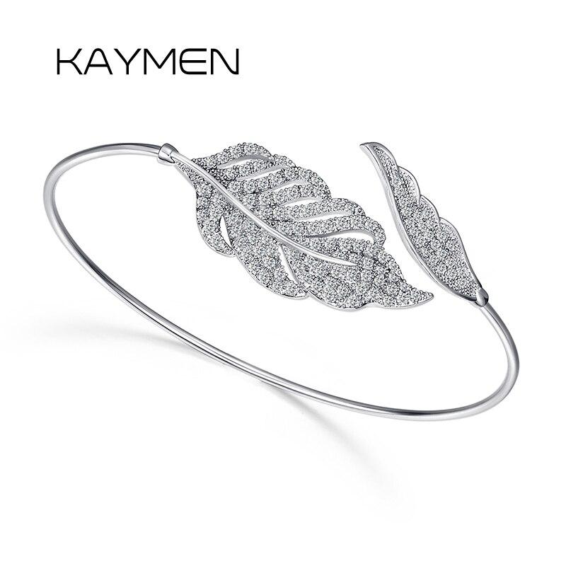 KAYMEN New Arrival Top Chất Lượng Prong Thiết AAA Zircon Cuff Bracelet Bangle Bạc Mạ Shining Tuyên Bố Lá Bangle