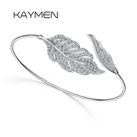 Kaymen Новое поступление Одежда высшего качества зубец Настройка AAA циркон манжеты браслет серебрение Сияющий себе лист браслет