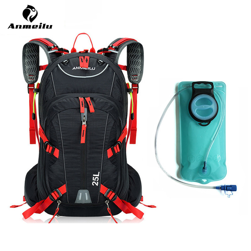 Anmeilu Water Bag With Rain Cover Waterproof 25L Outdoor Sport Bag Camping Climbing Hiking Cycling Backpack Hydration Bladder anmeilu 18l cycling backpack waterproof sport bag mtb cycling hydration water bags outdoor climbing hiking rucksack bicycle bag