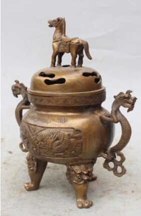 """SCY JP S0165 10 """"Marked Cinese Bronzo drago Cavallo Leone bestia Statua bruciatore di incenso Censer"""