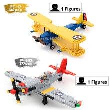 Verenigde Staten Tweede Wereldoorlog Training machine PT-17 Noord-Amerika Light fighter P-51D klassiek model bouwstenen figuur cadeau