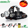 Boruit 3x XML T6 LED Headlamp 5000lm 4 Modes Lighting Red Hunting Headlight Rechargeable Head Lamp