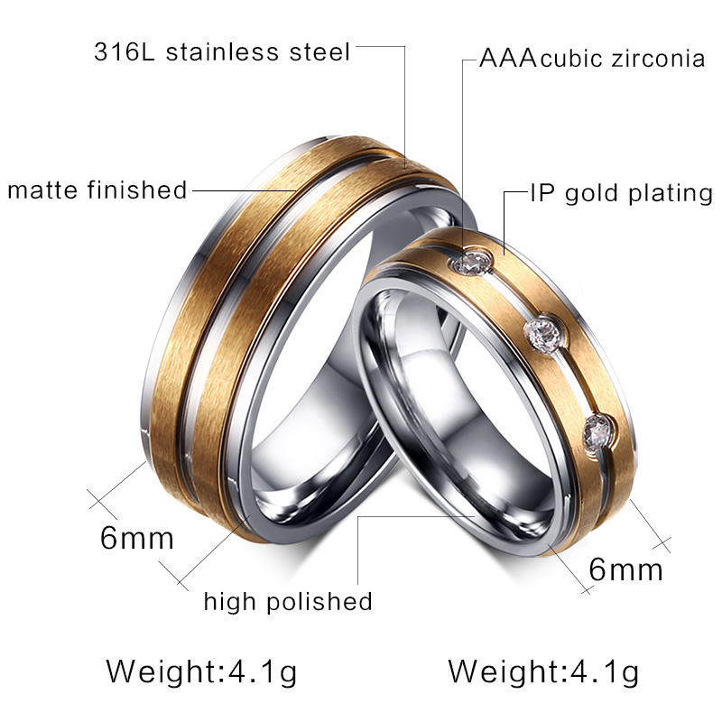 Stainless Steel Gold Silver Tone Couple Lover Mens Womens Rhinestones Band Rings Wedding Engagement Promise Ring