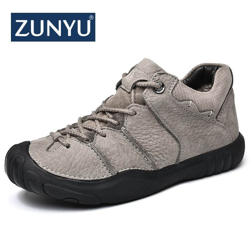 ZUNYU 2018 New Fashion Autumn Winter Men Boots High Quality Genuine Leather Ankle Snow Boots Shoes Warm Fur Plush Lace-Up Shoes 2017 genuine leather men boots winter shoes men waterproofs fur ankle plush warm snow boots men high quality mens winter shoes