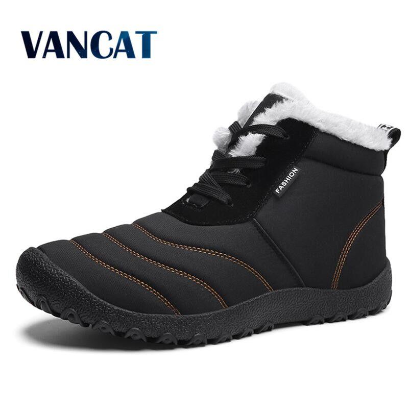 Vancat 2018 Super Chaud Bottes de Fourrure Hommes Étanche Lacent Neige Bottes Hommes Chaussures de Mode En Caoutchouc Cheville Bottes plus la Taille 39-46