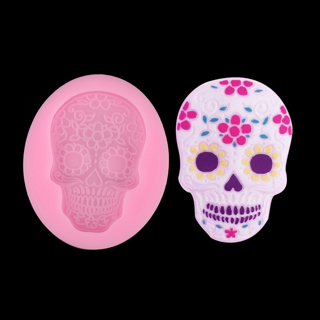 New 1pc pink baking silicone fondant mold flower skull shape new 1pc pink baking silicone fondant mold flower skull shape halloween cookie chocolate cutter baking tools mightylinksfo