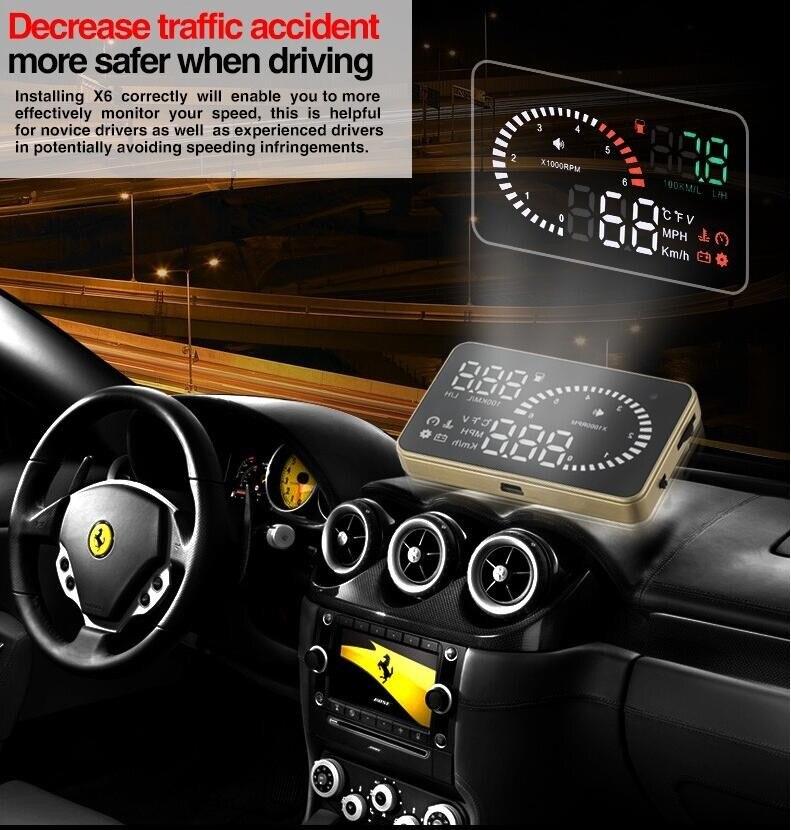 x6 3 inch car hud head up display windscreen car projector. Black Bedroom Furniture Sets. Home Design Ideas