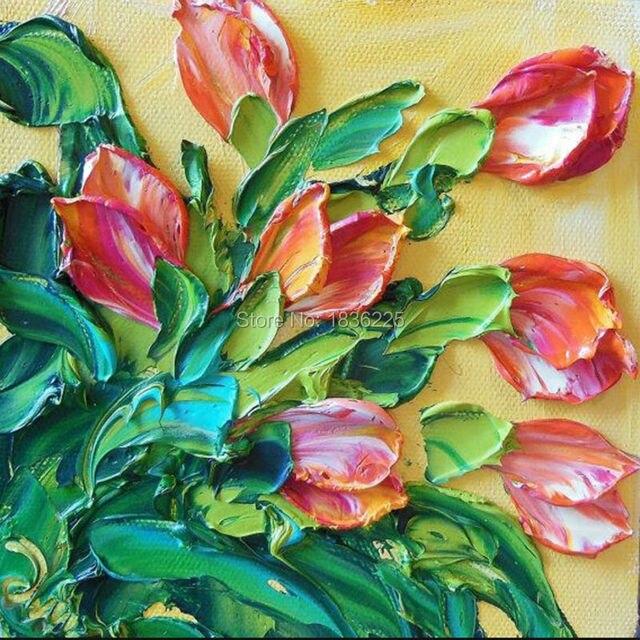 Artistas criativos Pintados À Mão Óleo Da Flor 3D Imagem Pintura A Óleo da Faca para Pintura na Lona Arte Da Parede Do Escritório ou Home Decor Pendure