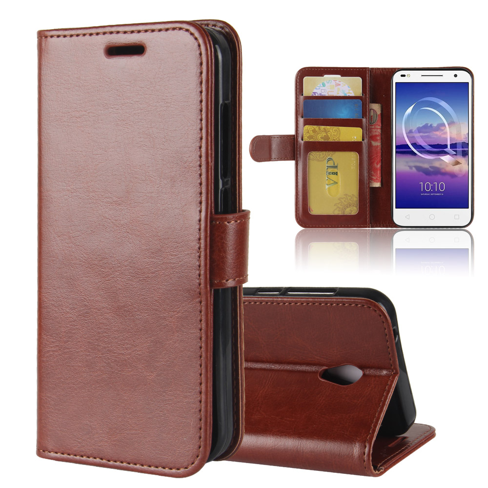 for Alcatel U5 HD Case, Business Flip PU Leather Case Wallet Card Hold ID Slot Kickstand Cover 5.0 inch Shell Bag