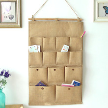 Zakka Home Furnishing Decorative Cloth 13 Pocket Plain Cotton Bag Hanging Bags Wall Hanging Organizers Storage