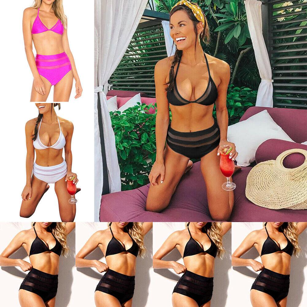 Sexy Summer Womens Swimwear Beach Bikini Set Ladies Bandage Mesh Bikini Set Push-up Bathing Suit Swimsuit High Waisted Bikini