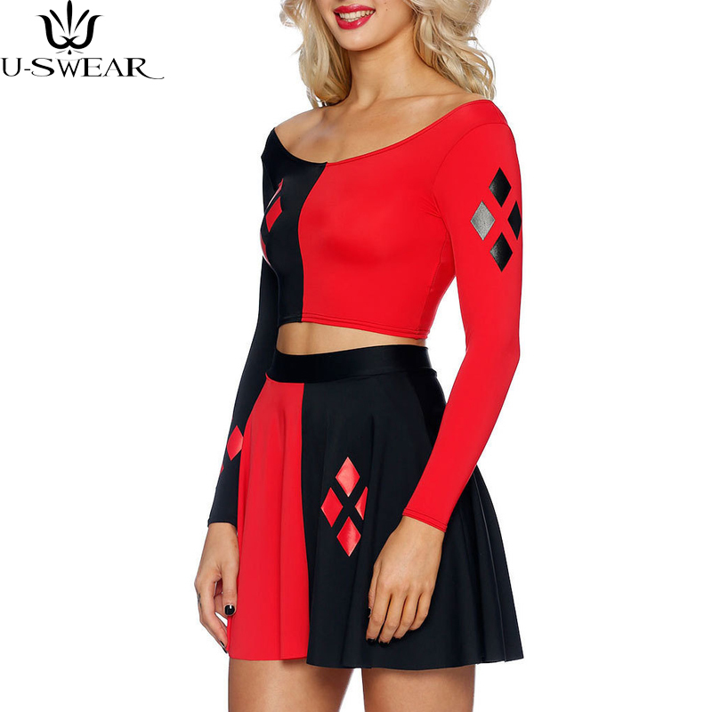 Harley Quinn Summer Sexy women cosplay Dress Comics Black Red Harley Quinn Prints Long Sleeve Vest Women Pleated Dress Plus size