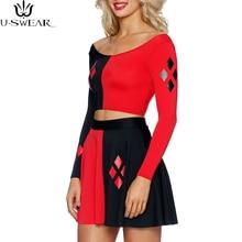 Купить с кэшбэком Harley Quinn Summer Sexy women cosplay Dress Comics Black Red Harley Quinn Prints Long Sleeve Vest Women Pleated Dress Plus size