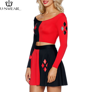 Harley Quinn Summer Sexy women cosplay Dress Comics Black Red Harley Quinn Prints Long Sleeve Vest Women Pleated Dress Plus size(China)
