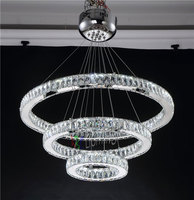 Modern Chrome Pendant Lights Long Crystals Diamond Ring LED Lamp Stainless Steel Hanging Light Fixtures Cristal