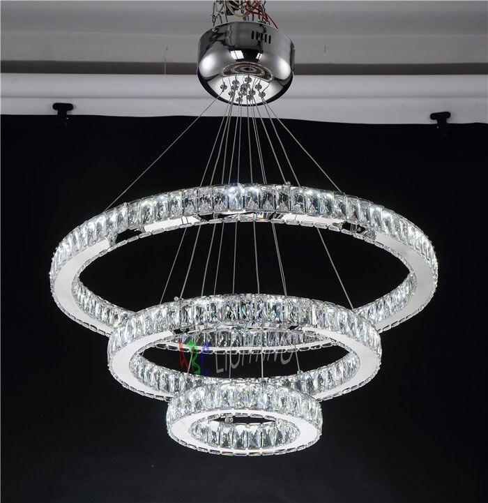 Modern LED Chandeliers long Crystals <font><b>Diamond</b></font> Ring LED Lamp Stainless Steel Hanging Light Fixtures Cristal LED Lustre chandelier