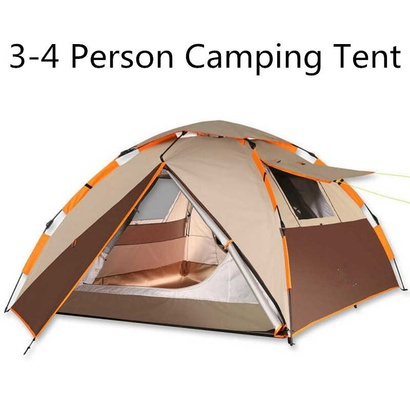 2018 New Double Layer 3-4 person 3 Colors Camping Tent Windproof Waterproof Tents Outdoor Hiking Fishing Tent Picnic Tent 3 4 person windproof waterproof anti uv double layer tent ultralight outdoor hiking camping tent picnic tent with carrying bag