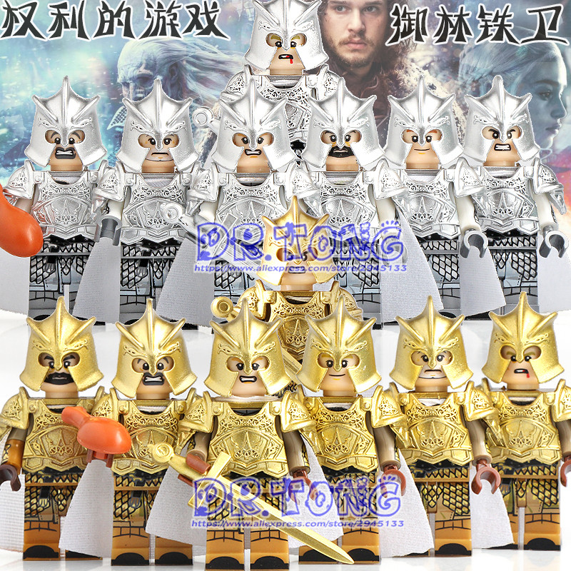 20Pcs/Lot Legoed Game of Thrones Kingsguard Action Figure Medieval Knight Soldiers Army Infantry Building Blocks Toys Kid KT1001