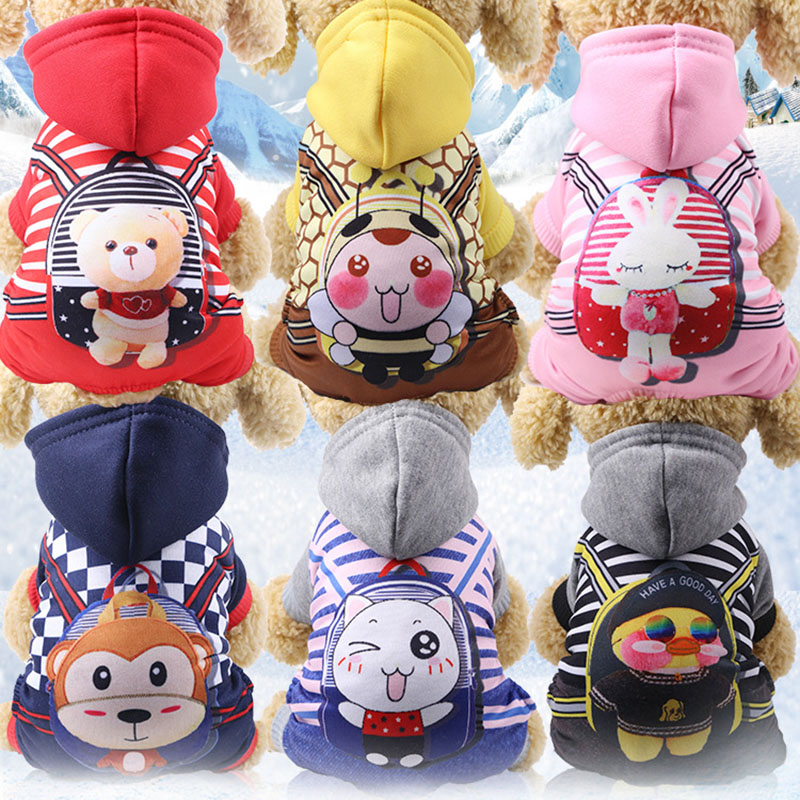 Casual Small Dog Clothes Pet Puppy Costume Cute Printing Cat Dog Fleece Coat Jacket Winter