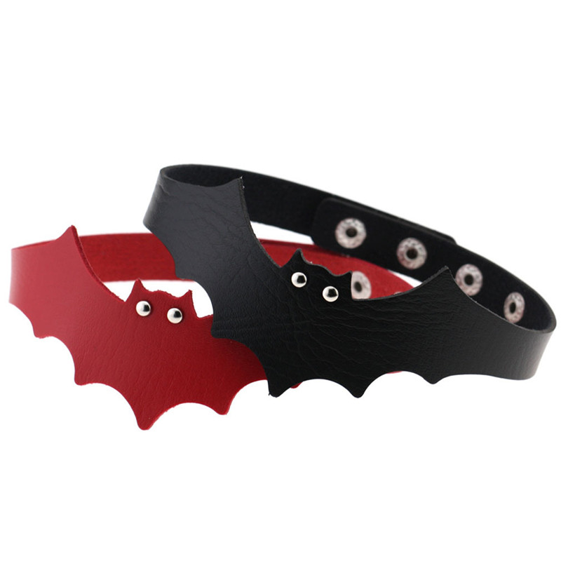 2018 Newest fashion jewelry accessories mix color PU leather bat wings shape choker necklace for couple lovers