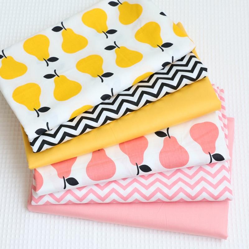 6PCS cotton cloth cloth color stripe cartoon pear quilt bedding quilt children full cotton twill fabric wholesale 40x50CM