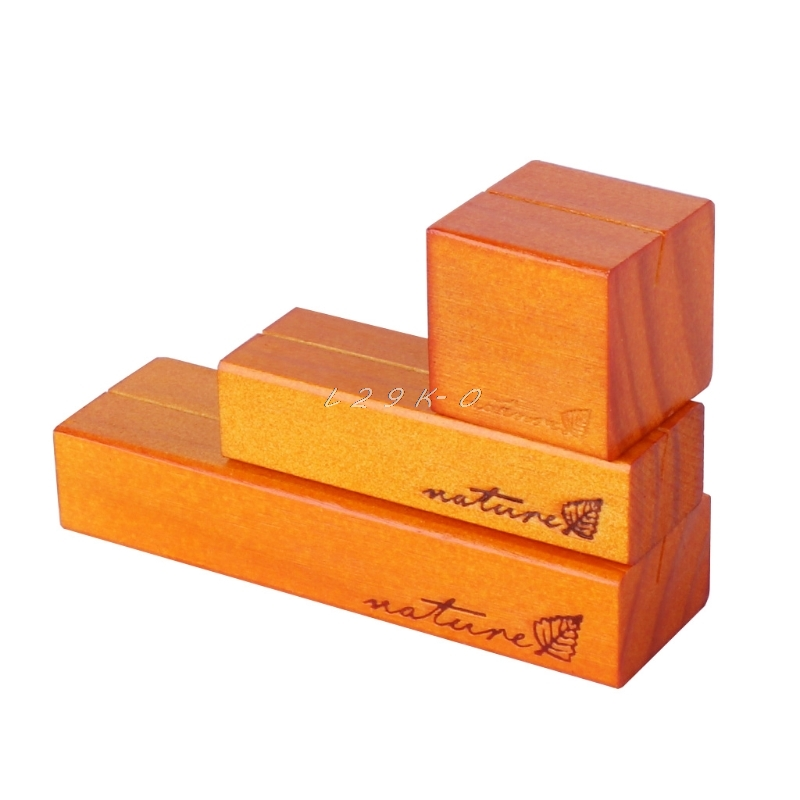 Natural Wood Card Holder Block Clips Paper Photo Picture Clamp Stand Business Card Holder Desk Accessories