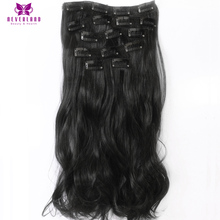 Neverland 7pcs/set 16Clips 22″ Wavy Synthetic Natural Black #1B Fake Hairpiece Clip-in Full Head Hair Extensions for Women