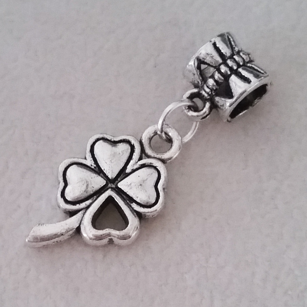 Free Shipping 1PC Silver Plated Heart Four Leaf Clover Beads Pendants Charms fit Fit European Pandora Charm Bracelet & Necklace