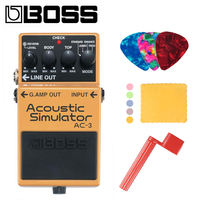 Boss AC 3 Acoustic Simulator Pedal for Guitar Bundle with Picks, Polishing Cloth and Strings Winder
