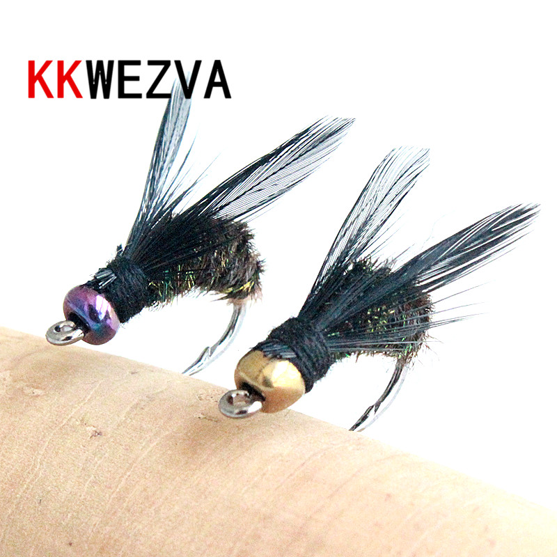 KKWEZVA 18PCS fishing lure #8 Black hooks Peacock Feather Material Nymph Spinner Baetis Fly Bait Trout Fly Fishing Flies & Lures