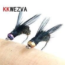 Kkwezva 18 pçs isca de pesca #8 ganchos pretos material de pena de pavão ninfa spinner baetis mosca isca truta mosca pesca moscas & iscas