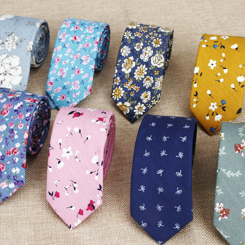 Hot New Sell Cotton Men's Colourful Casual Tie For Man Ties Narrow Kids  Necktie Slim Skinny Cravate Narrow Thick Neckties 6cm