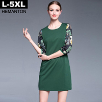 Green Color Women Dress Autumn Spring Fashion Printed 3 4 Sleeve Casual Loose Dresses L XL