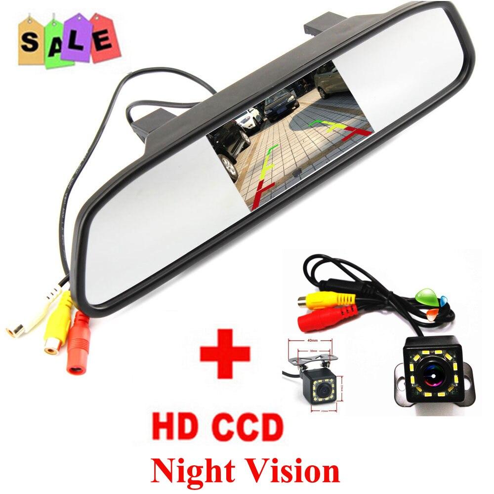 Free Shipping Universal Car Rear View Camera Car Parking Backup Camera with HD 5 Inch Mirror