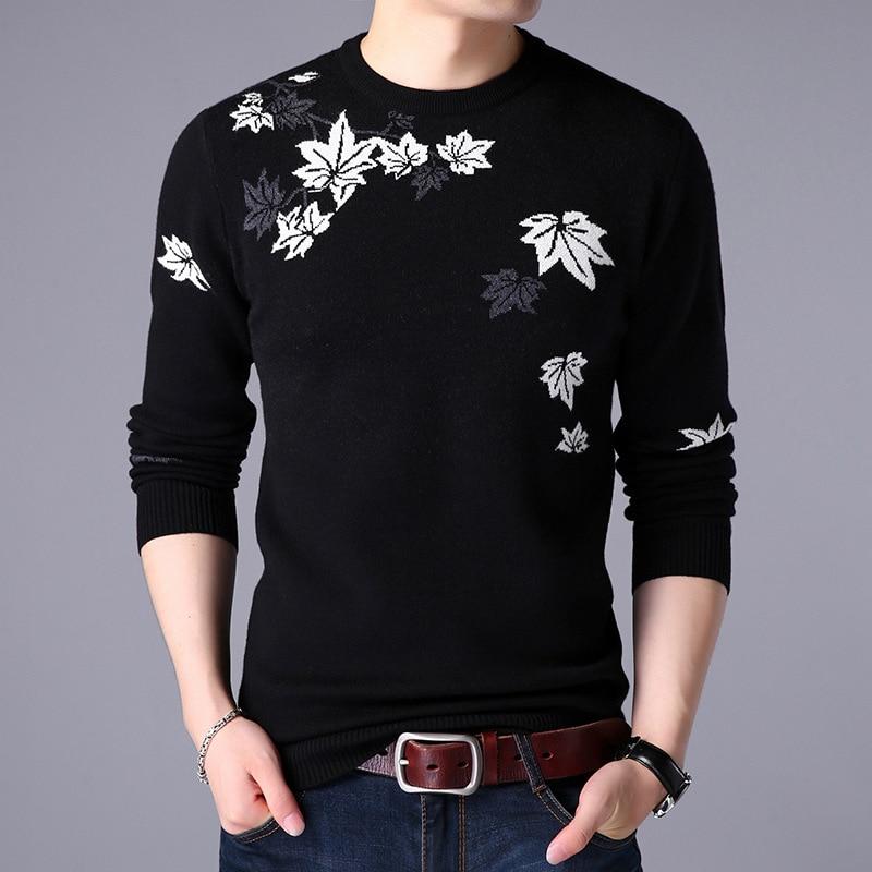 NIANJEEP chandail décontracté noir pull hommes automne col rond Patchwork coton mercerisé tricoté fleur mâle chandails xxxl