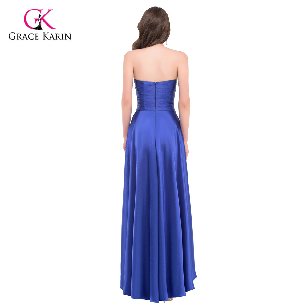 Grace Karin Evening Dress 2017 Watermelon Red High Low Beading Party Gowns  Satin Short Front Long Back Evening Dresses 6012-in Evening Dresses from  Weddings ... 88cbf47ad1e5
