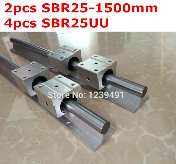 2pcs SBR25  -  1500mm linear guide + 4pcs SBR25UU block 2pcs sbr25 l1500mm linear guides 4pcs sbr25uu linear blocks for cnc